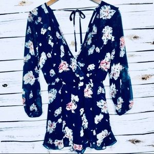 Band of Gypsies Navy Floral Chiffon Romper NWOT